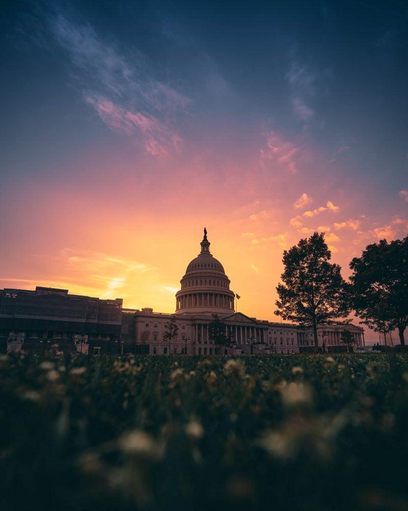 United States Capitol DC Sunset Orange