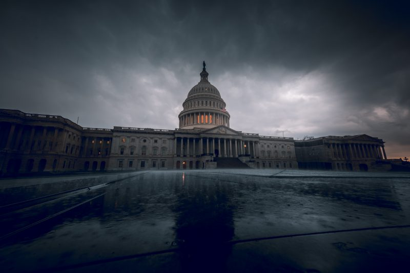 Us Capitol In The Rain