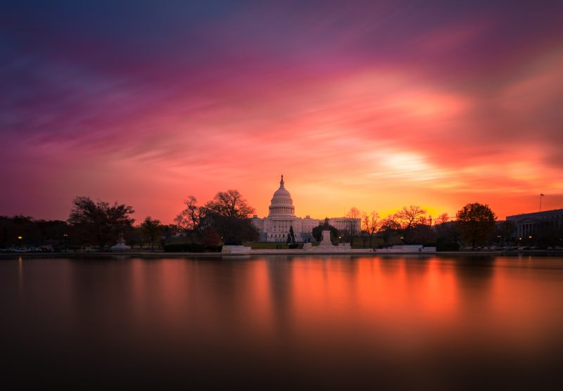 Us Capitol Sunrise Red