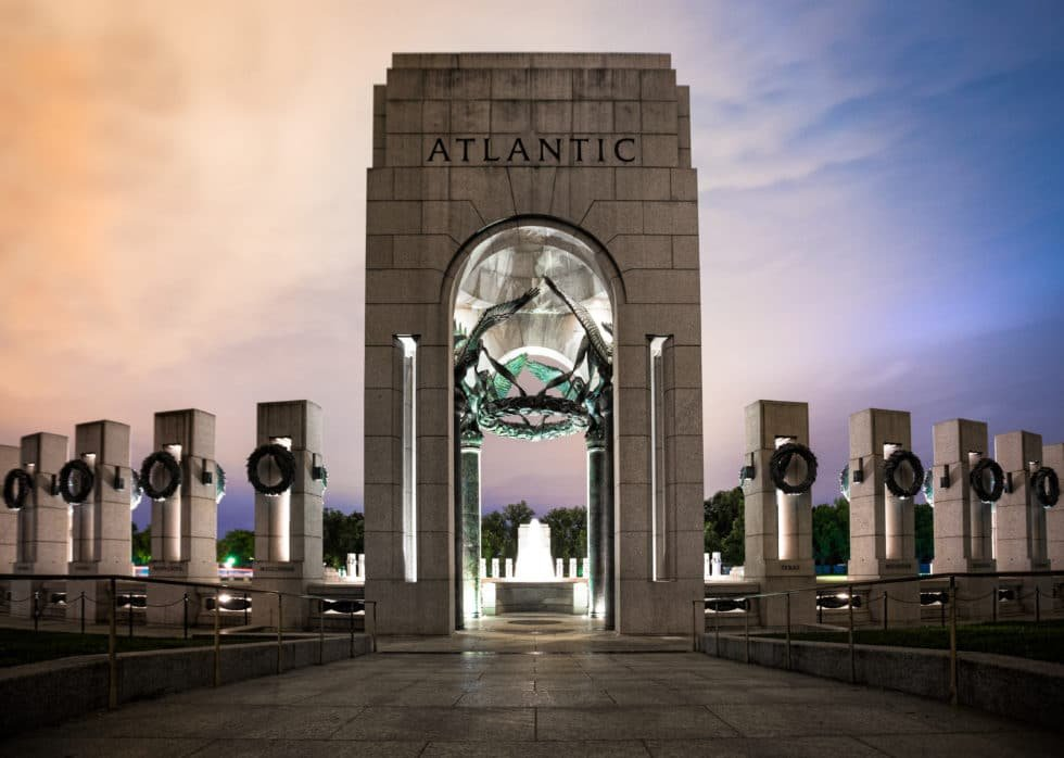 World War Ii Memorial At Night Hdr