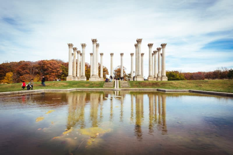 national arboretum columns pond