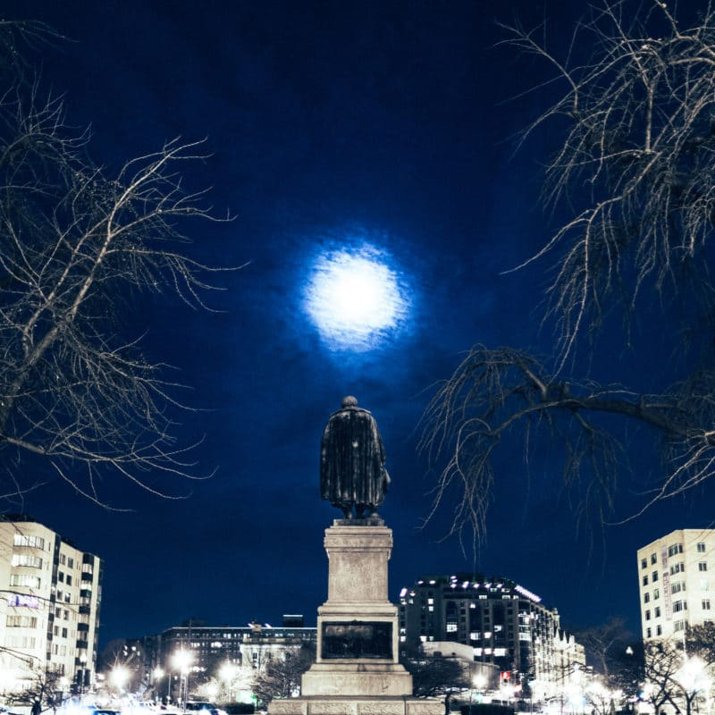 Washington DC Moonlit Statue