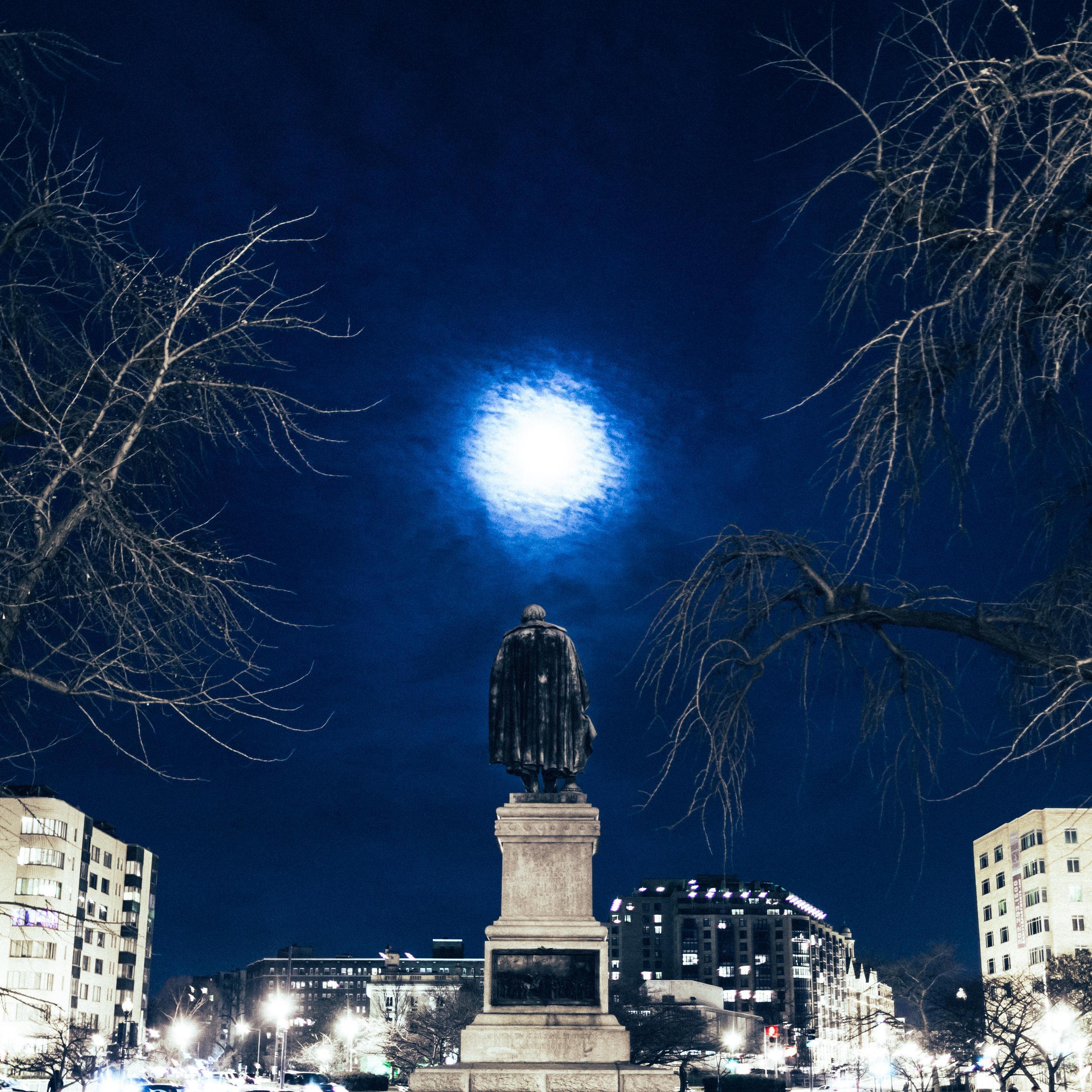 Washington DC Moonlit Statue