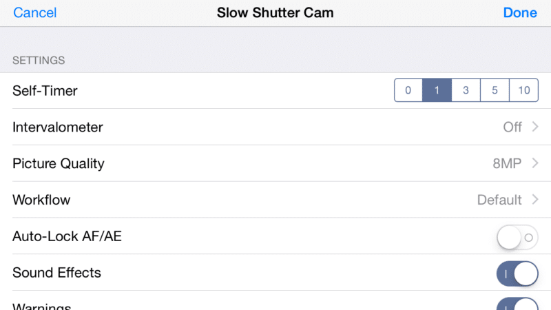 My Recommended SlowShutter Settings