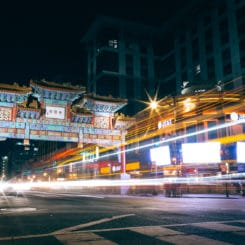 Chinatown Washington Dc Night Long Exposure