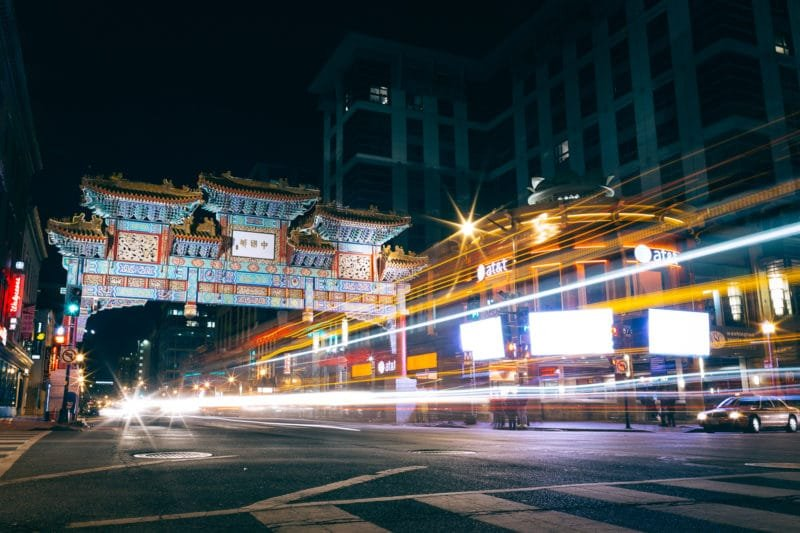 Long Exposure at Night in Washington DC's Chinatown