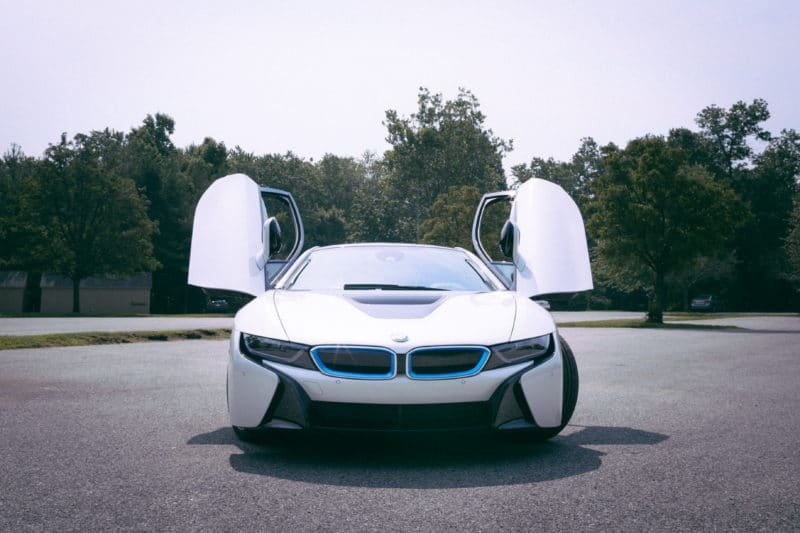 BMW i8 Front View with Doors Open