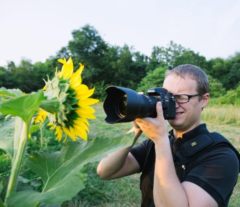 Brandon Kopp photographing sunflowers