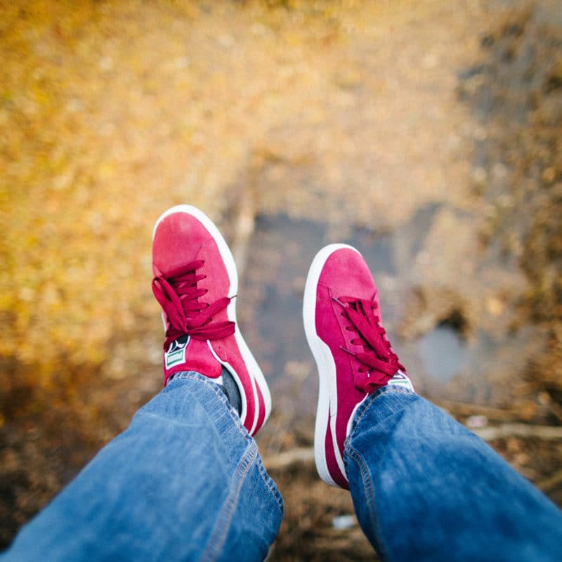 Hnaging Feet Purple Shoes