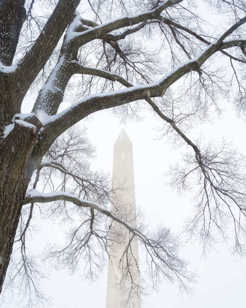 Snowy Washington Monument