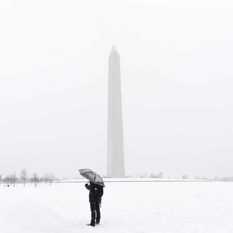 Snowy Washington Monument Umbrella
