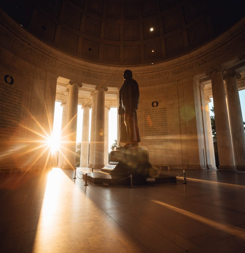 Sun bursting through the Jefferson Memorial in DC