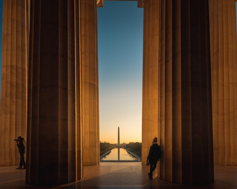 Sunrise Inside The Lincoln Memorial