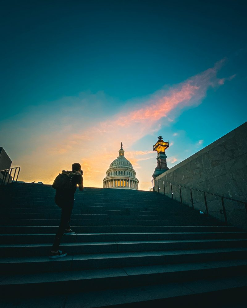 Sunset At Us Capitol Stairs