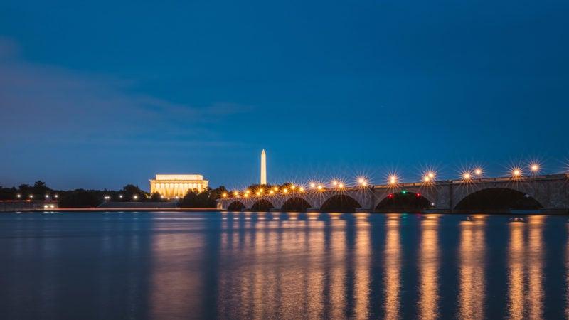 DC Skyline and Arlington Memorial Bridge from Mt Vernon Trail