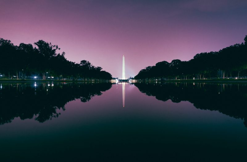 Washington Monument Night Purple Sky