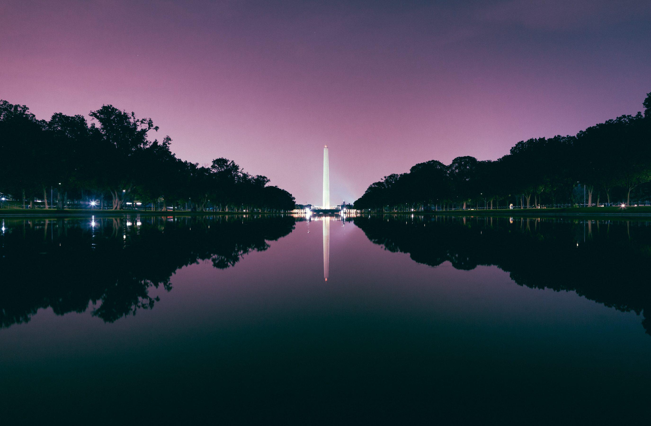 Washington Monument Night Purple Sky
