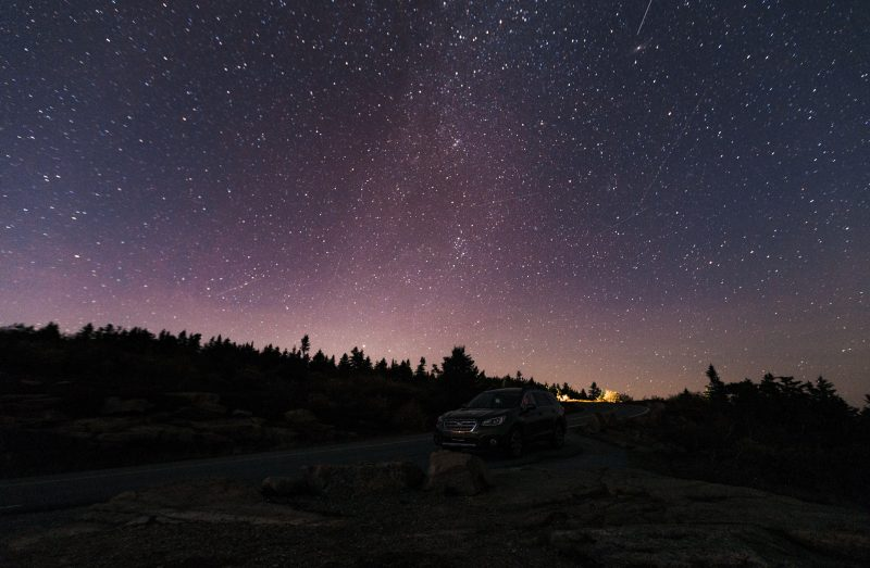 Night sky above Cadillac Mountain in Acadia