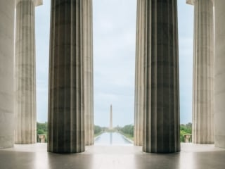 Lincoln Memorial With Washington Monument