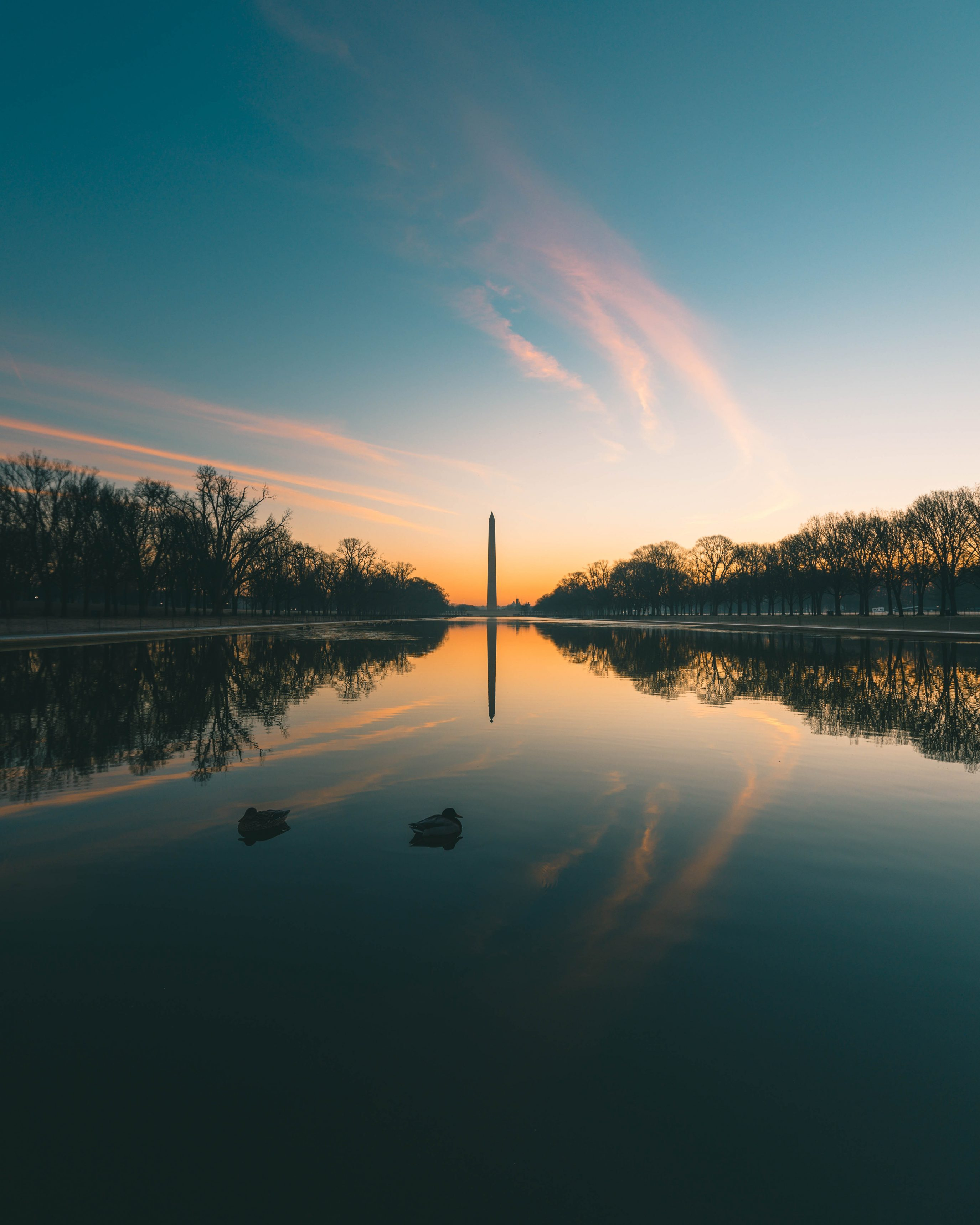 Reflecting Pool In DC At Sunrise