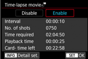 Canon 5d Mark Iv Timelapse Options Screen