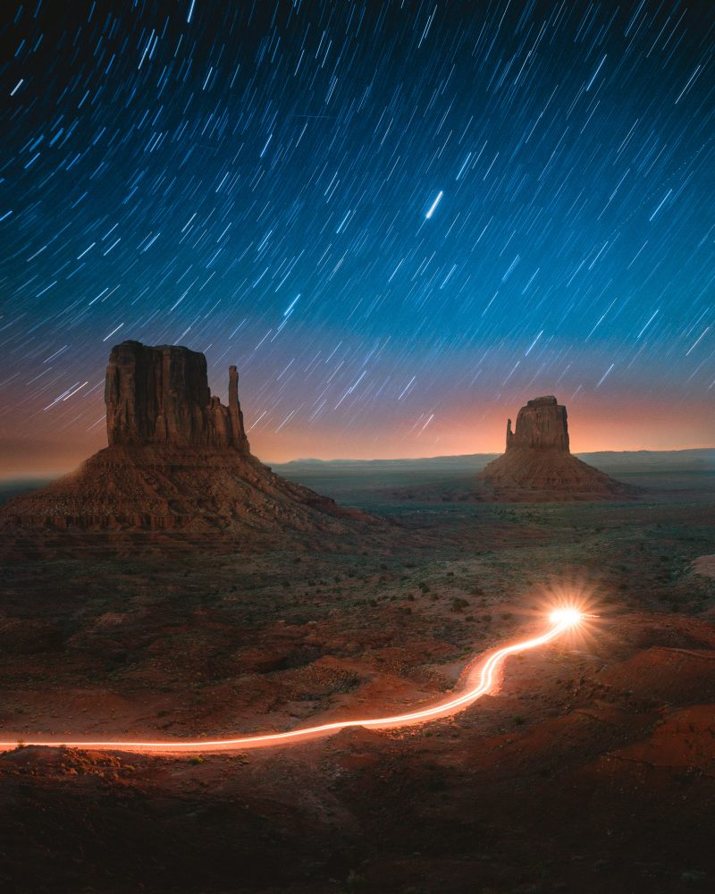 Long Exposure Galaxy Monument Valley