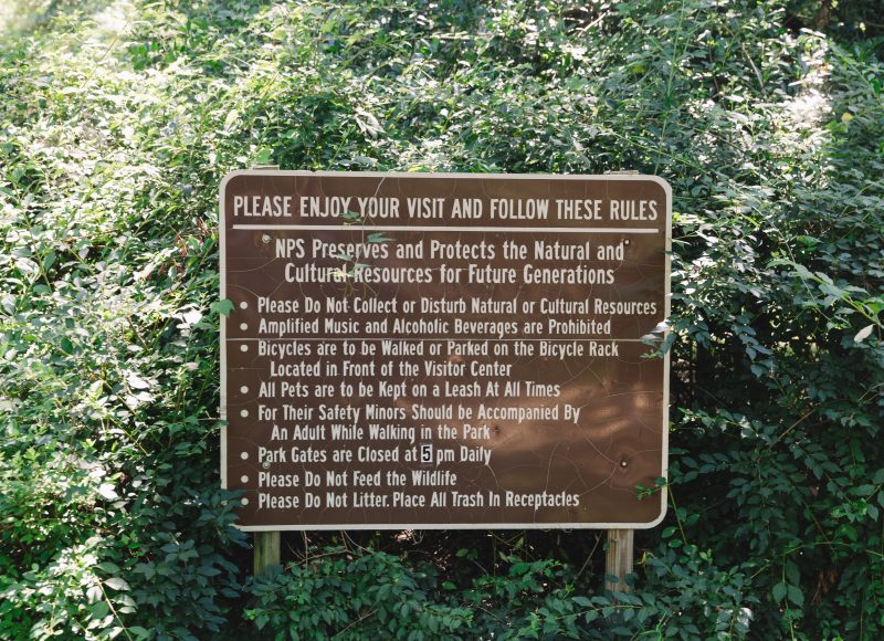 Kenilworth Aquatic Gardens Rules Sign