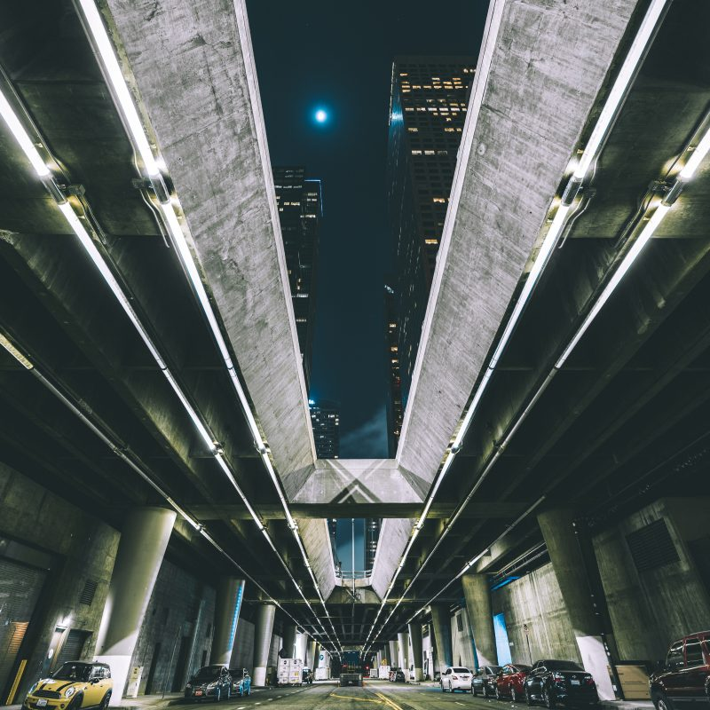 Los Angeles Downtown Underpass At Night