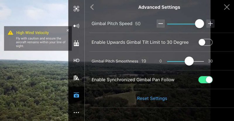 Dji App Gimbal Pitch Speed Options