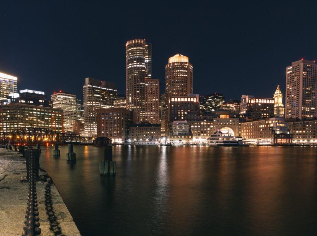 Fan Pier Park Night Boston Skyline