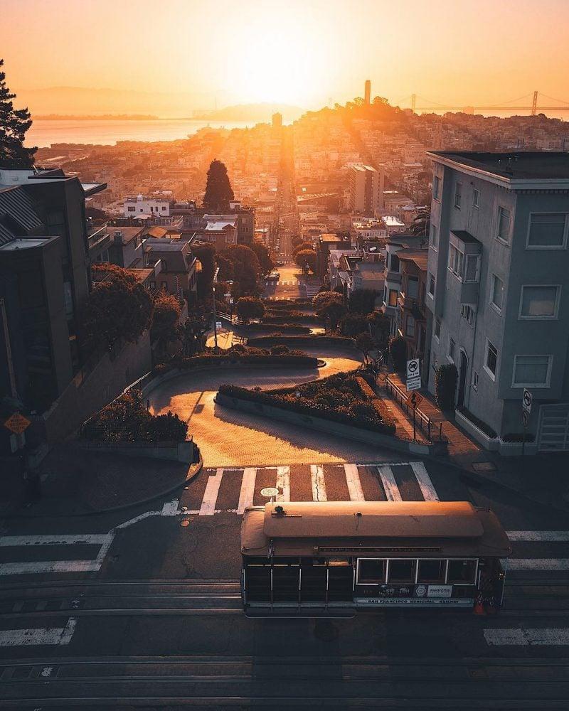 Lombard Street Sunset Drone Andrewoptics