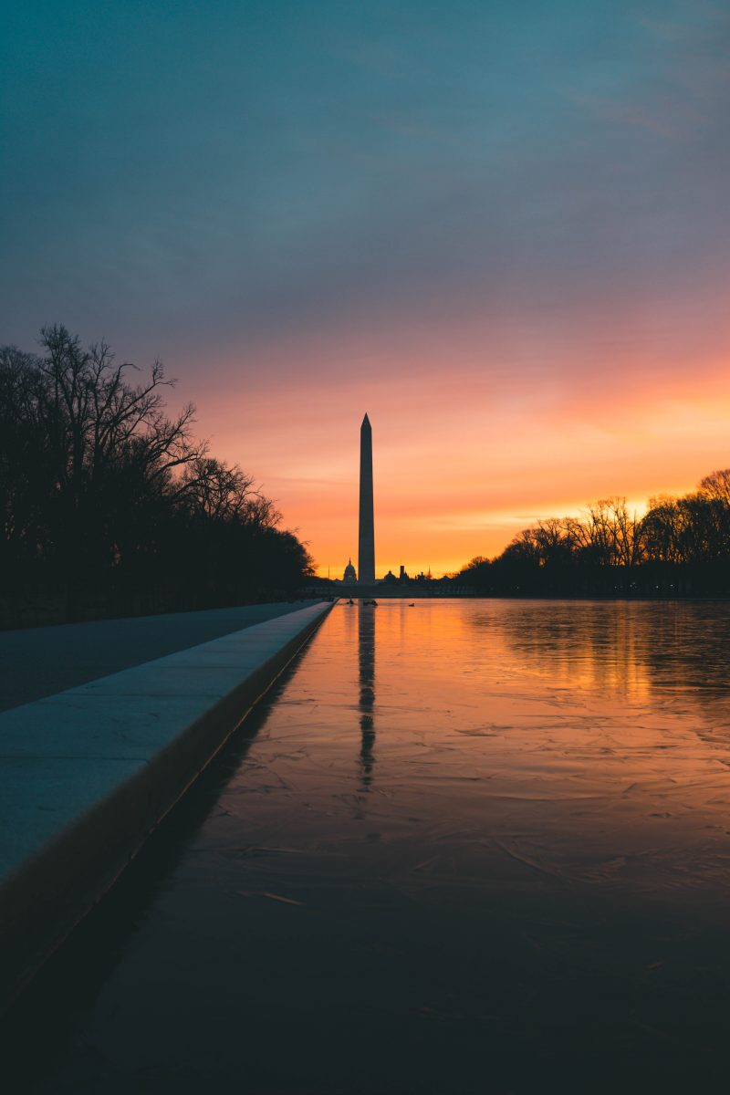 Sunrise At Frozen Reflecting Pool In Washington Dc