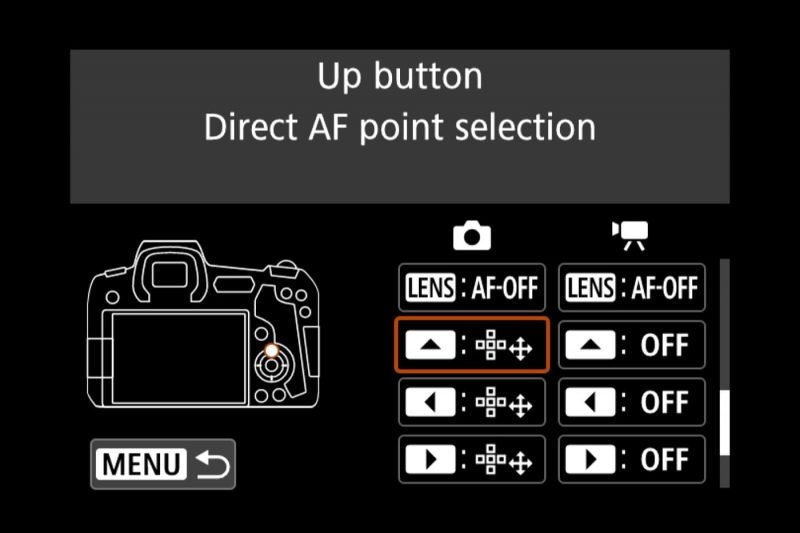 Canon EOS R Menu Arrow Button Settings