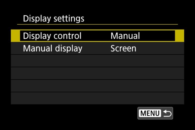 Canon EOS R Menu Display Settings Disable Viewfinder