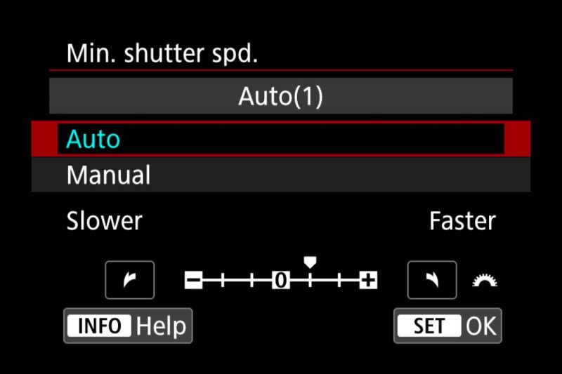 Canon EOS R Min Shutter Speed Settings