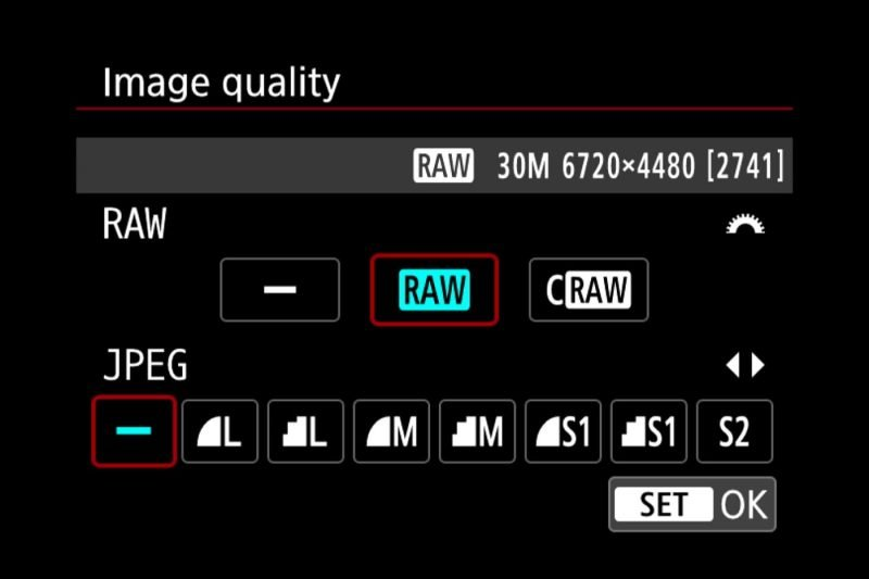 Canon EOS R RAW Photo Options