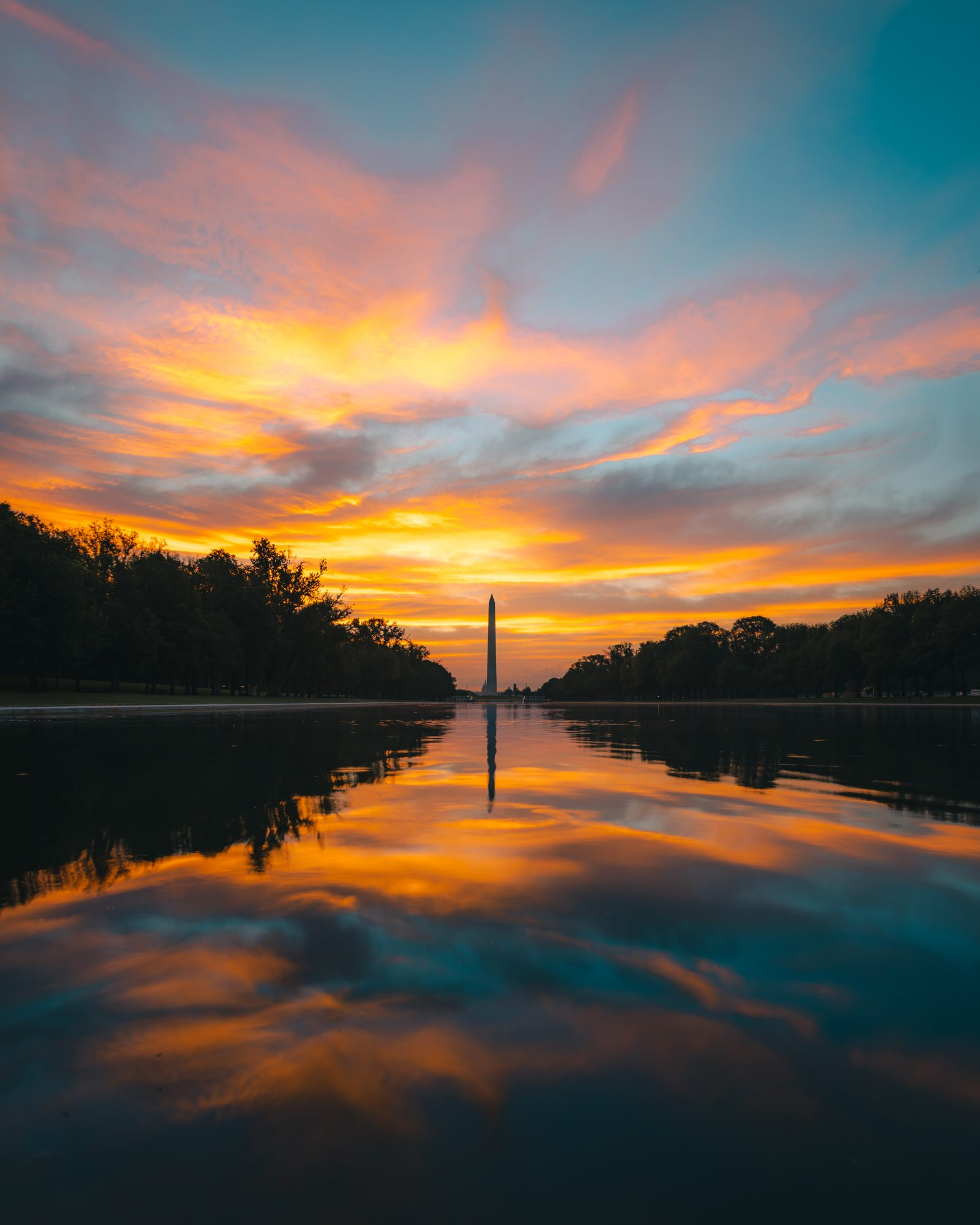 Orange Sunrise At The Lincoln Memorial Reflecting Pool Andy Feliciotti