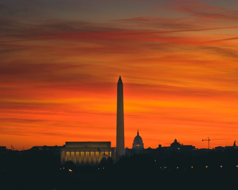 DC skyline at sunrise from Netherlands Carillon