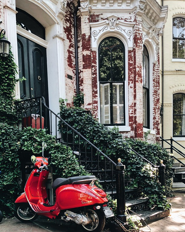 Red moped scooter in Georgetown print by @dccitygirl
