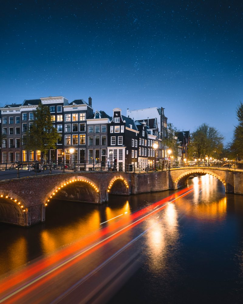 7 Bridges Amsterdam Nl Night Canal
