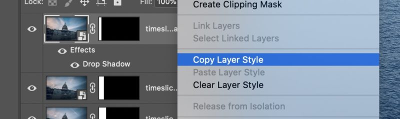Copy layer style in Adobe Photoshop