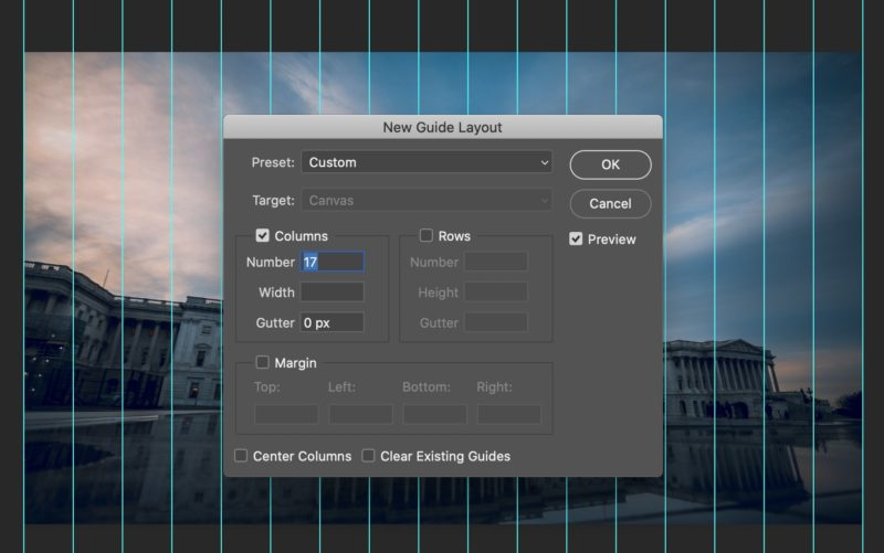 Creating a guide layout in Photoshop for your time slice