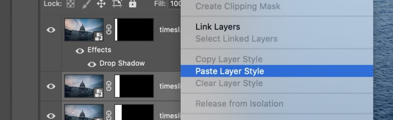 Paste layer style in Adobe Photoshop