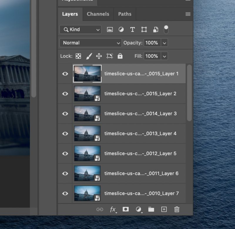 Time slice layers in Photoshop