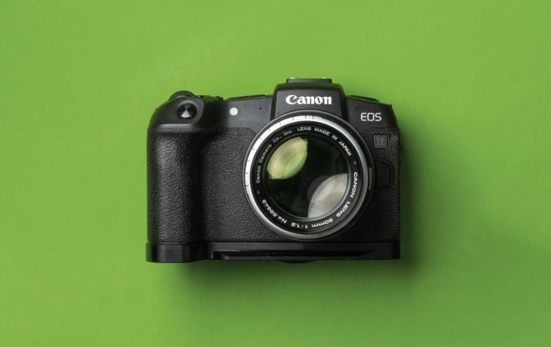Canon EOS RP on Green Background