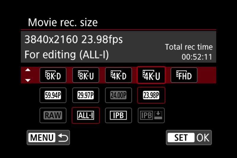Canon EOS R5 Video Quality Menu