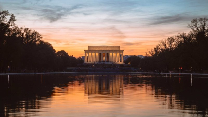 Lincoln Memorial Sunset On Reflecting Pool