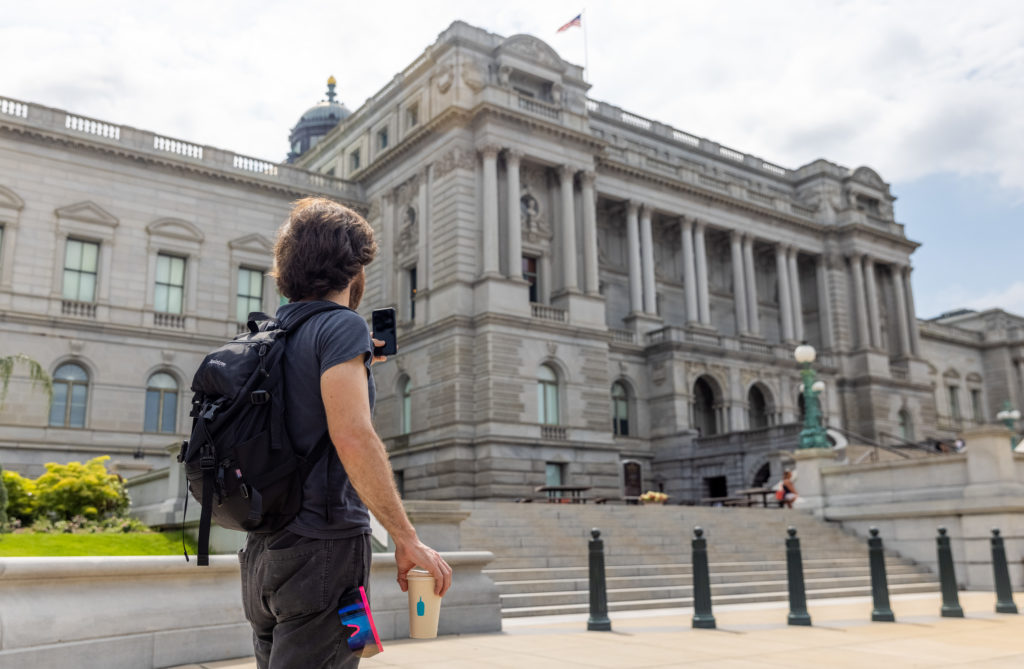 Tourist at Library of Congress in DC